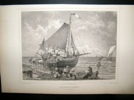 Holland Netherlands C1850's Antique Print. Scheveningen, Boat